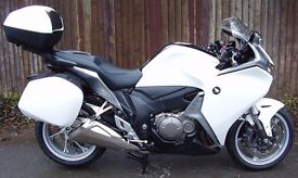 Honda VFR1200F in Pearl White ONLY 2100 miles from new, with ALL BOXES, centre stand, fitted Garmin