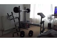 training bench,weights set,over door pull-up/chin bar.DOMYOS 210