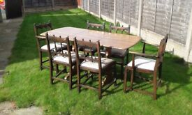 VINTAGE ERCOL DINING SET - includes 6 chairs
