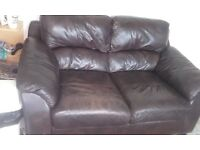 Matching brown leather Sofa and armchair