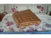 Gold satin throwover double or king-size bed