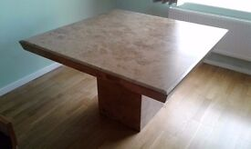 Travertine Rose Marble Dining Table and Four Chairs