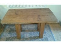 Reclaimed wood handmade chunky dining table, waxed, solid, seats 4-6