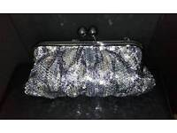 Silver and blue sequin clutch bag