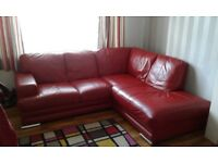Leather corner sofa, armchair and storage stool
