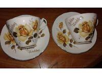 "Argyle Vintage Bone China 2 x ""Golden Wedding"" Cup & Saucer Set"