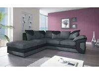 1 YEAR WARRANTY | DINO JUMBO CORD BLACK/GREY CORNER SOFA | EXPRESS DELIVERY ALL UK | FOAM CUSSHION
