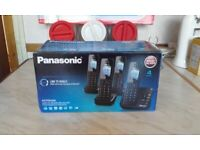Panasonic Quad cordless phone 4 handsets with answering machine (Link to mobile)