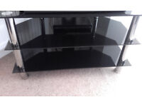 Black & Silver Chrome Three Tier LCD TV Stand ( Suitable for up to 40 Inch )