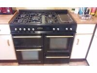 5 ring hob, oven, grill dual fuel range cooker and warming plate