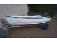 DINGHY 11' approx GRP WITH Type runabout on galvanized trailer and 8hp MARINER, OARS AND ROLLOCKS