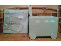 Boys bedroom items, toys chest and night light/ canvas