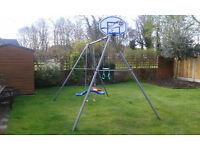 TP Triple Swing, includes swing, skyride, hanging bar plus baby swing seat and basketball hoop