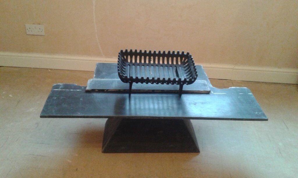 Slate hearth, metal hood and fire basket for sale
