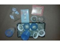 Free manual breast pump, bottles etc