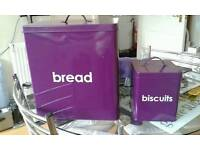 Purple bread and biscuit tin