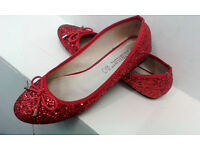 Sparkly red flats - size 41