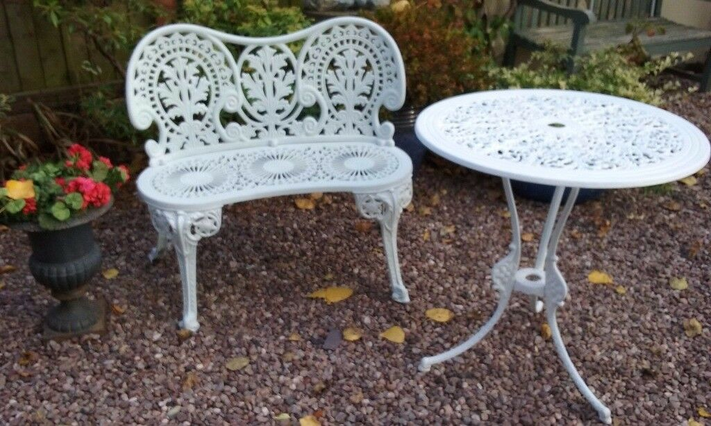 cast iron metal garden patio bench seat round table chair