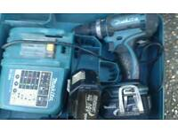 Makita 18v lithium ion combi drill with batteries