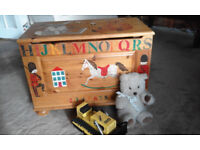 Designer made handpainted signed and dated large wooden toy chest / box-UK made