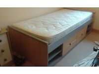 Single bed, low cabin style, with good mattress