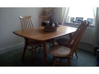 Ercol Windsor Dining Table and 4 Windsor Chairs with cushions