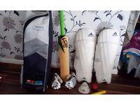 Cricket bat, Knee pads, Gloves, Balls, Plus G&M shoulder bag New