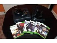 XBOX 360 SLIM + 2 CONTROLLERS & 6 GAMES
