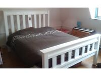 King size pine Wooden Bed, Painted white