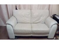 DFS REAL LEATHER ASH SOFA FOR SALE £50 PICK UP IN STOWMARKET