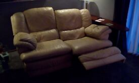 2no 2 seat cream soft leather sofa,s. Good condition. Must be sold by Tues 21st feb