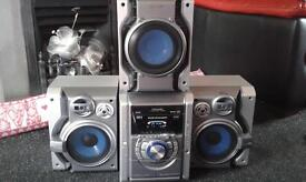 panasonic 5 cd changer stereo with subwoofer