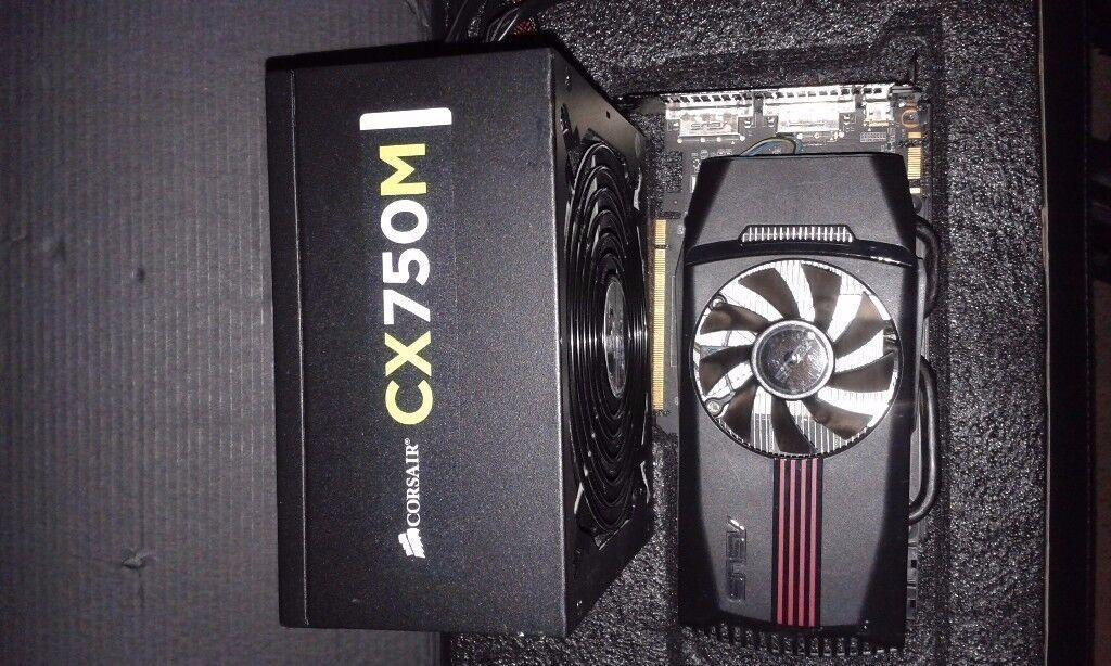 computer upgrade 750 watt corsair power supply & gtx 560 graphics & new in box gaming headset