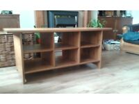 LARGE IKEA PINE COFFEE TABLE WITH SHELVING FOR SALE . COULD DELIVER.