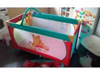 Winnie the pooh Hauck travel cot, mamas n papas cot and toys