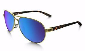 BRAND NEW Oakley Feedback Sapphire Iridium Polarized /w Polished Gold Frames 004079-17 $85 FIRM BRAND NEW