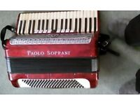 PAOLO SOPRANI MIDI ACCORDION, 120 BASS, 41 KEYS, IN EXCELLENT CONDITION WITH CASE AND MIDI LEADS
