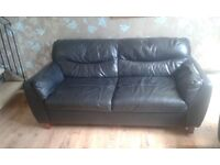 Free 3 seater and 2 seater black leather sofa