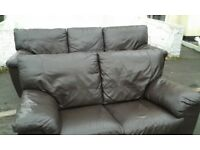DFS 3+2 seater Brown leather sofa set *DELIVERY*