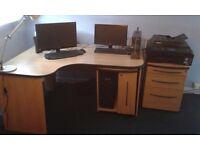 Large corner desk and cupboards