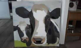 large cow picture on canvas