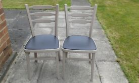 Two upcycled kitchen chairs