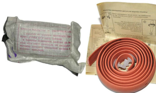 Soviet Russian Pink Rubber Tourniquet Bandage Kit Bleeding Medical First Aid