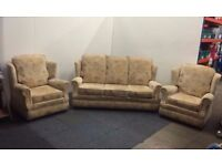 Good Quality Cream Sofa And Armchair Three Piece Suite