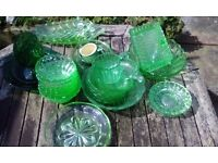 Collection of green glass items