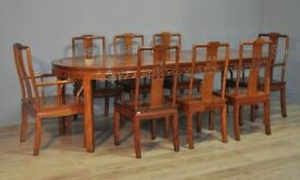 Attractive Large Oriental Carved Extending Dining Table & 8 Chairs, Carvers