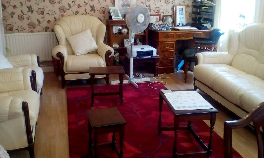 Executive Leather Sofa And 3 Armchairs. Cream And Design Wood Trim