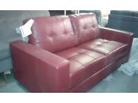 new 3 seater red leather sofa classic square style setee - Setee