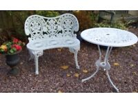 Cast Iron Metal Garden Patio Bench Seat U0026 Round Table (Chair)
