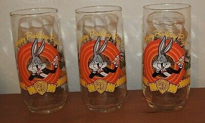 Loony Tunes 50th Anniversary Collectors Glass Bugs Bunny and Friends